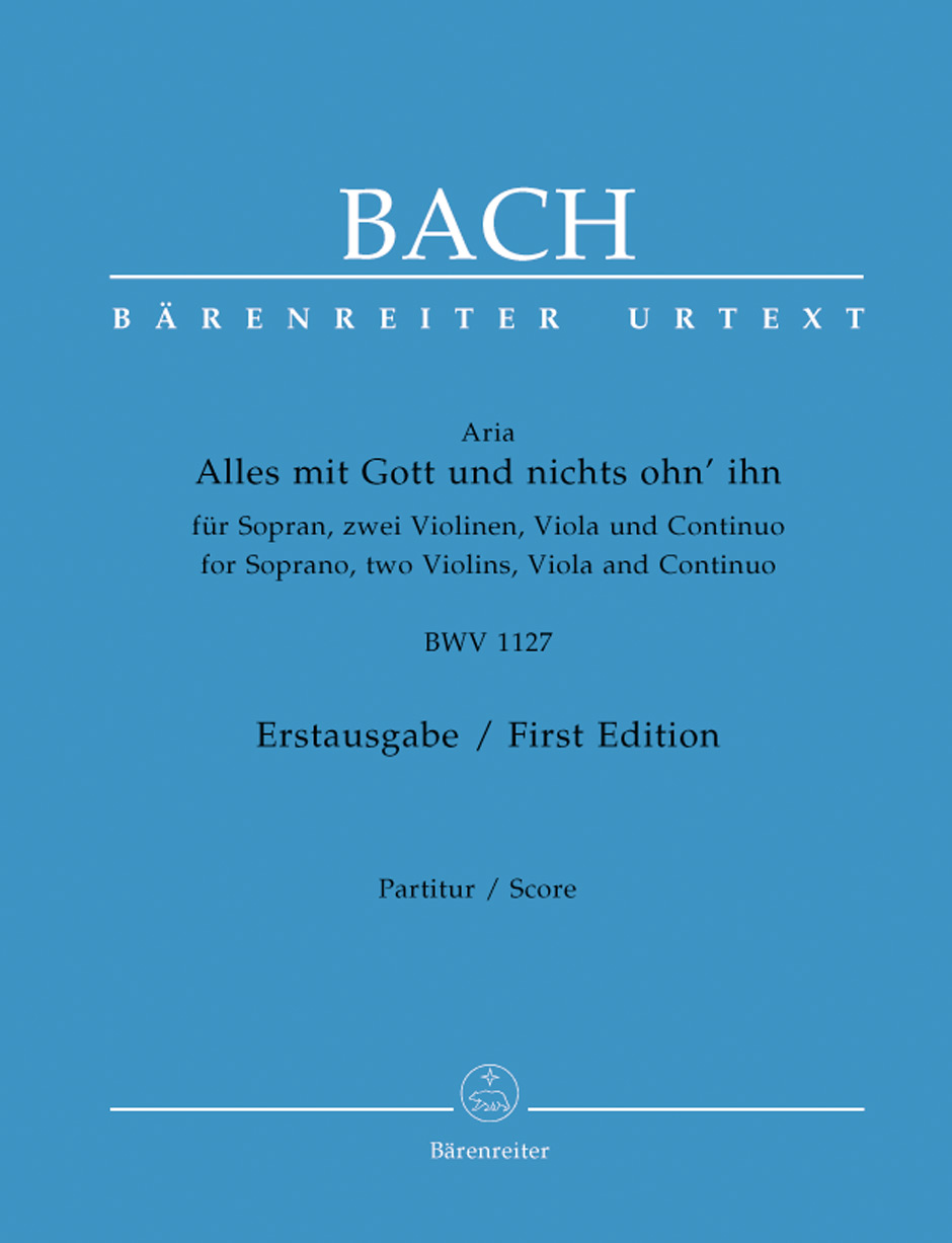 Barenreiter Urtext score of the rediscovered JS Bach aria