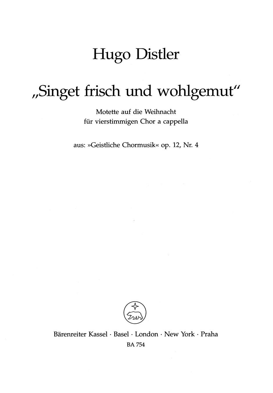Singet Frisch Und Wohlgemut Op12 4 G