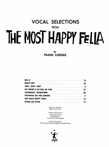 The Most Happy Fella - Vocal Selections