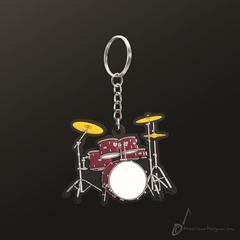 Instrument Keyring Drum Set Red