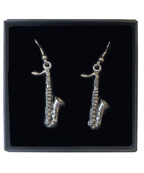Saxophone Pewter Earrings
