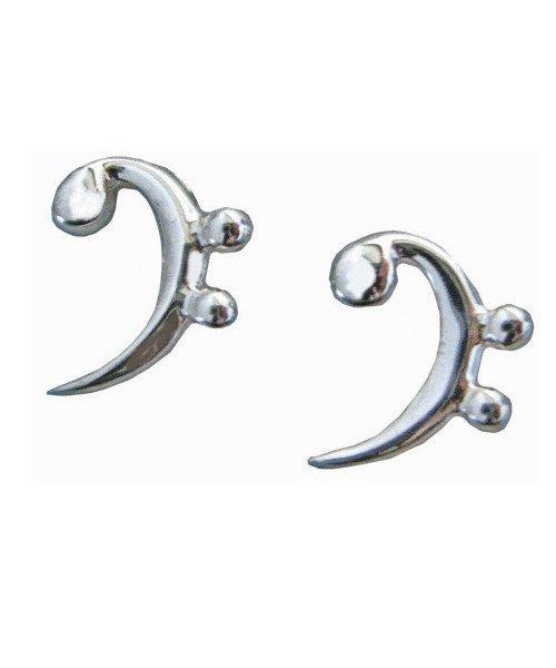 Sterling Silver Bass Clef Earrings