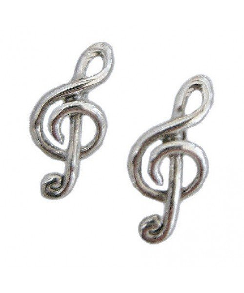 Sterling Silver Treble Clef Earrings