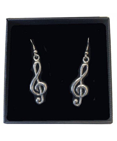 Treble Clef Pewter Earrings
